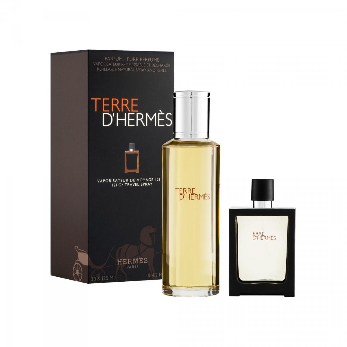 Set Terre Dherms Eau De Parfum Rechargeable 125 Ml Recharge 30 Hermes Voyage D Unisex Edp 100ml